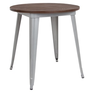 "26"" Round Tolix Cafe Table+Wood Top"