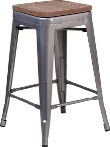 "Grayson 24"" Clear Coated Metal Backless Barstool + Wood Seat"