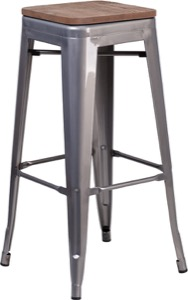 "Grayson 30"" Clear Coated Metal Backless Barstool + Wood Seat"