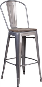 Grayson Clear Coated Metal Barstool + Wood Seat