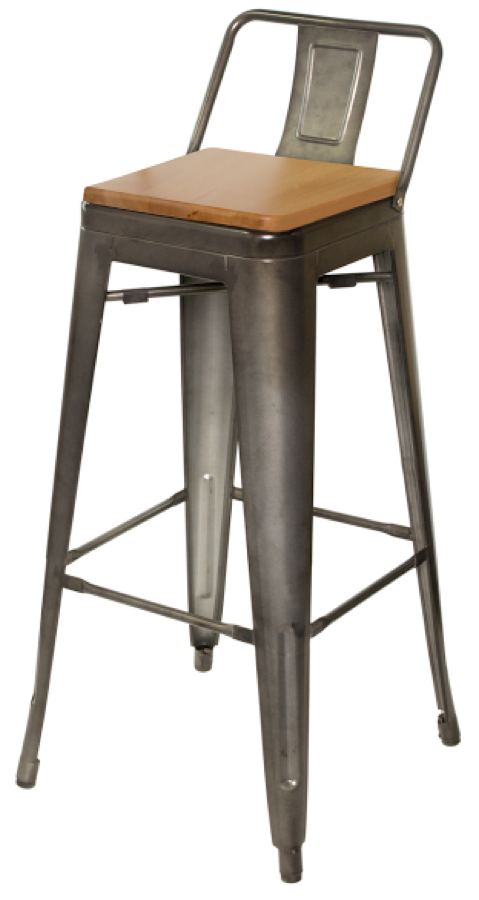 Tabouret Tolix Replica Galvanized Steel Bar Stool Wood
