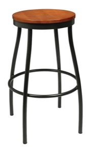 Rustic Wood Backless Barstool with Metal Frame