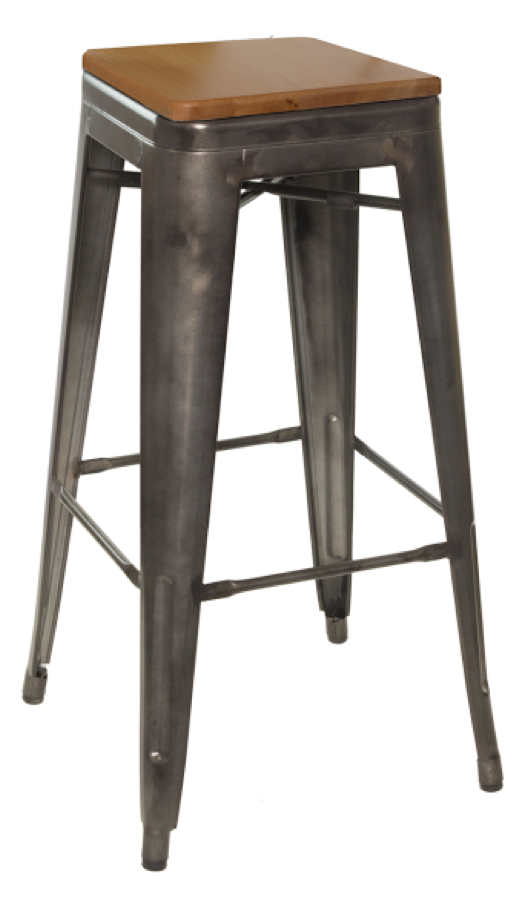 Galvanized Steel Backless Barstool With Wood Seat Hudson
