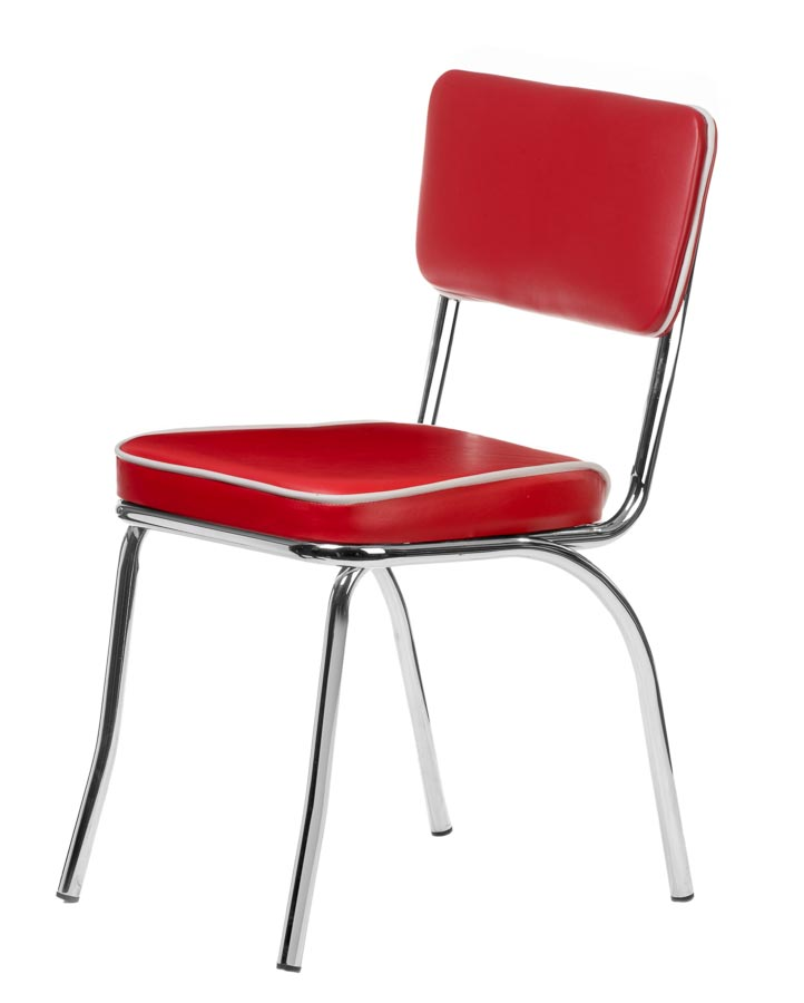 Well-known Chrome Retro Dining Chair with Red Vinyl Cushioned Seat and Back  LC14