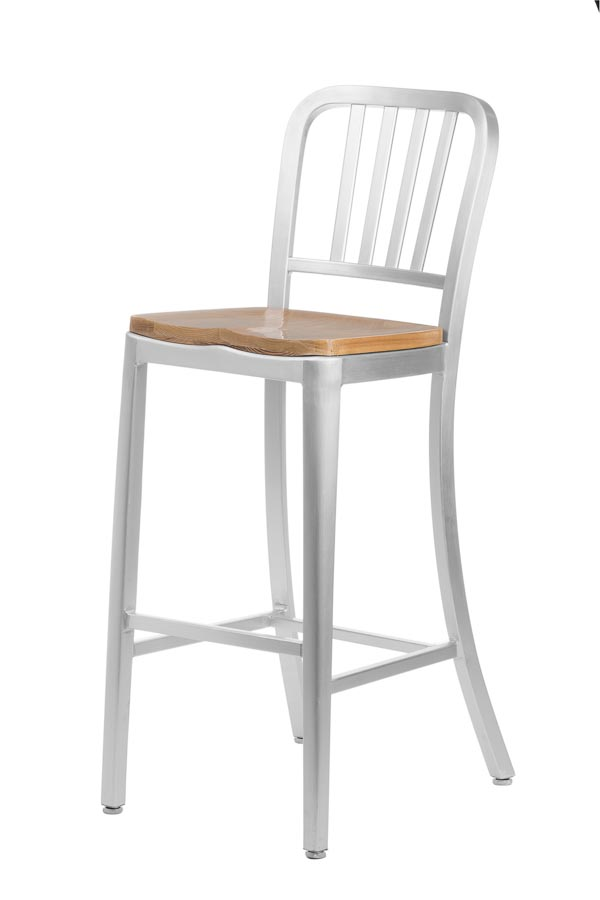 Aluminum Sandra Navy Style Restaurant Counter Stool With Oak