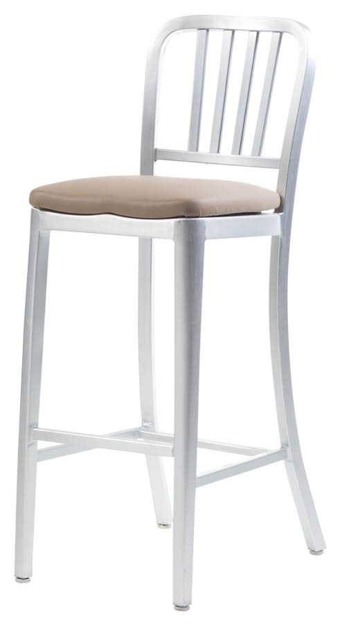 Aluminum Sandra Navy Style Barstool with Upholstered Seat