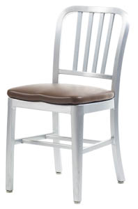 Aluminum Sandra Navy Style Chair with Upholstered Seat