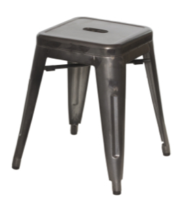 "Galvanized Steel Backless Bar Stool -18"" Height"