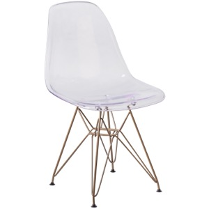 Bailey  Ghost Side Chair with Gold Metal Base