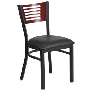 Slat Back Chair with Wood Back and Vinyl Seat