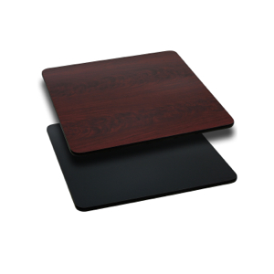 Square Restaurant Table With Black or Mahogany Reversible Laminate Top