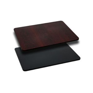 Rectangular Restaurant Table With Black or Mahogany Reversible Laminate Top