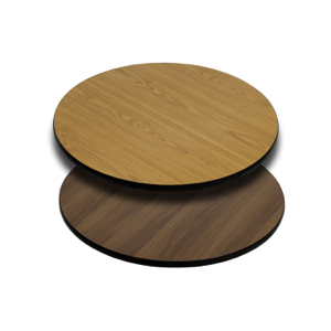 Round Restaurant Table With Natural Or Walnut Reversible Laminate Top
