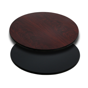 Round Restaurant Table With Black or Mahogany Reversible Laminate Top