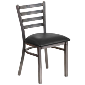 Clear Coated Ladder Back Metal Chair