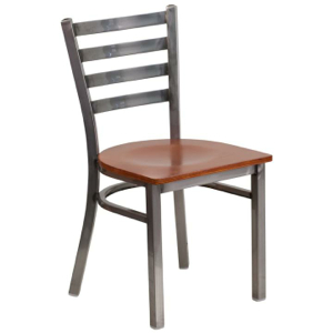 Clear Coated Ladder Back Metal Chair with Wood Seat
