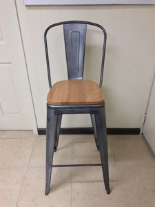 Galvanized Steel Bar Stool with Wood Seat
