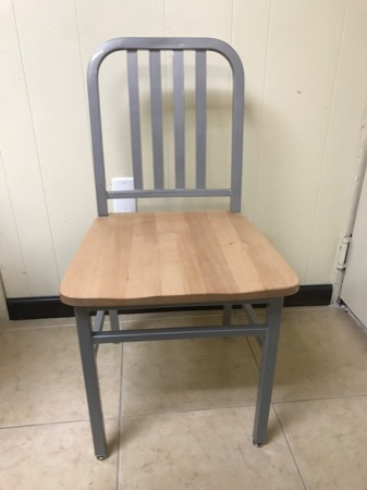 Steel Navy Style Chair with Wood Seat