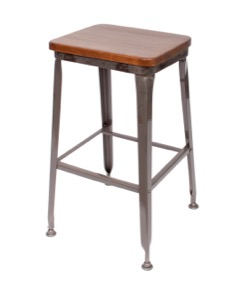 Lincoln Clear Coated Steel Backless Barstool