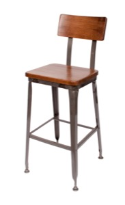 Lincoln Clear Coated Steel Barstool with Wood Seat and Back
