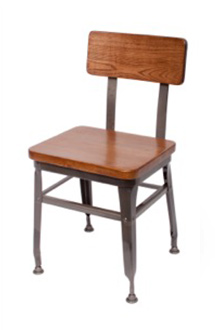 Lincoln Clear Coated Steel Side Chair with Wood Seat and Back