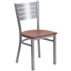 Silver Slat Back Metal Chair with Wood Seat