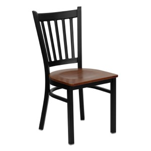 Vertical Back Metal Chair with Wood Seat