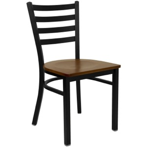 Black Ladder Back Metal Chair with Wood Seat