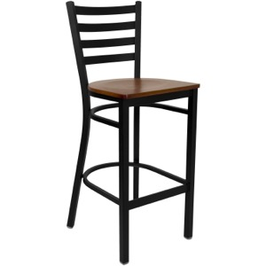 Black Ladder Back Metal Barstool with Wood Seat