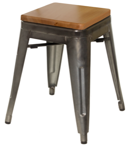 "Galvanized Steel Backless Bar Stool with Wood Seat -18"" Height"