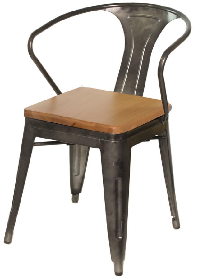 Attrayant Gunmetal Galvanized Steel Arm Chair With Wood Seat