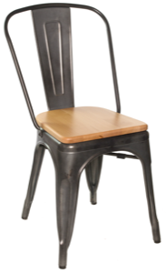 Gunmetal Galvanized Steel Chair with Wood Seat